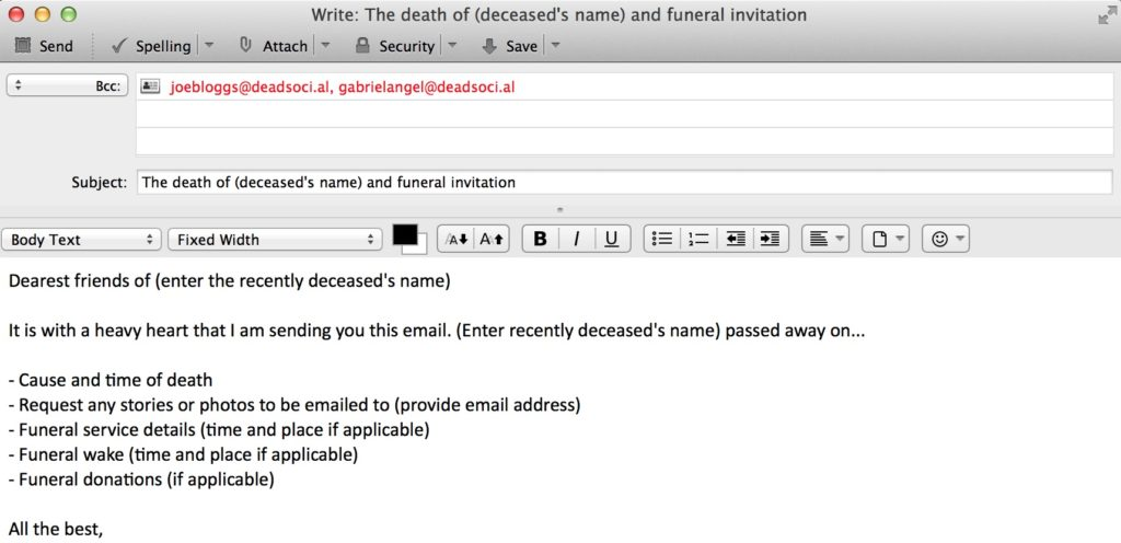 Email Funeral Invitation