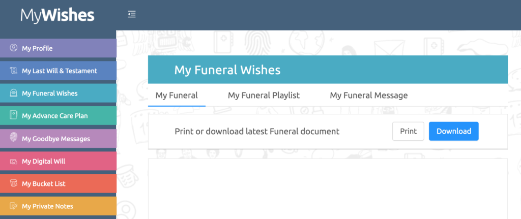 Funeral choices app